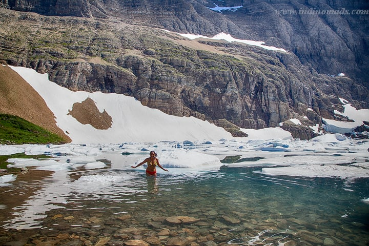 Iceberg lake – Taking a dip